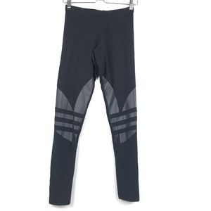 Adidas All Black Cotton Leggings / Tights